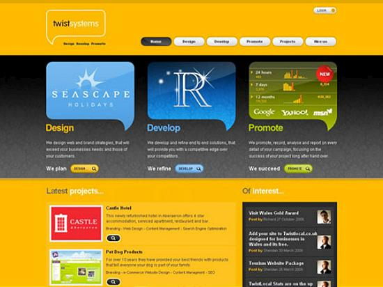twistsystems Yellow Colored Website Designs for Inspiration