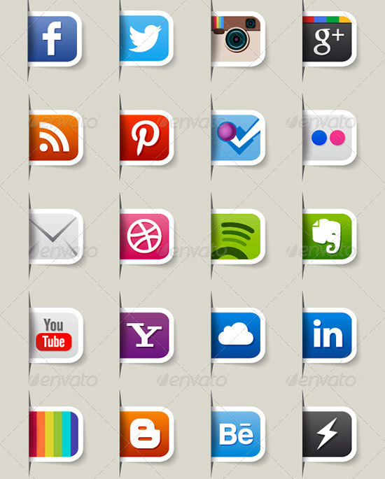 80 social media icons preview PSD Icon Set of Social Media and Applications