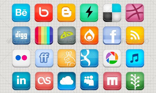 social media icons PSD Icon Set of Social Media and Applications