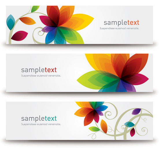 Flower Banners Vector Graphic