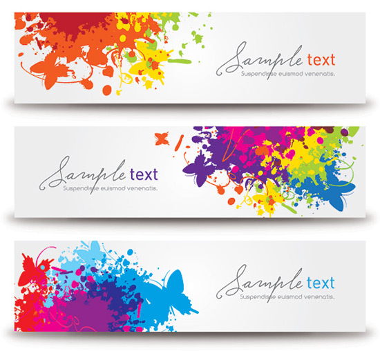 Splashed Banners Vector Graphic