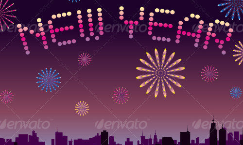 new year vectors with firework Download New Year Vectors to Complete Your Tasks