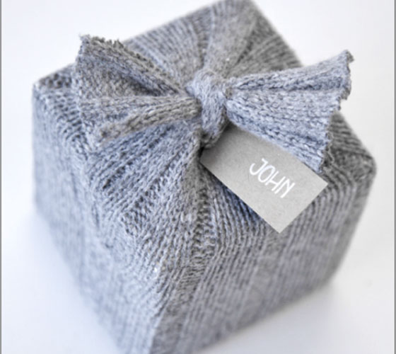 Re-purposed Sweater Gift Wrap