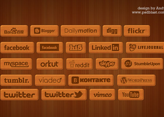 Wooden style social icons