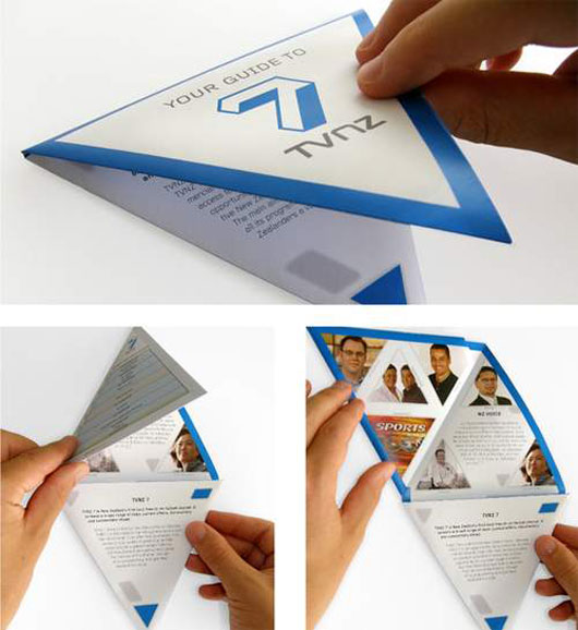 Triangular folding Brochure 40 Inspirational Creative Brochure Designs