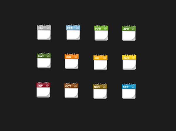 Colored Months Icons