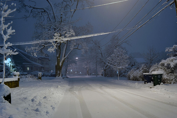 newton massachusetts dark night snowy street