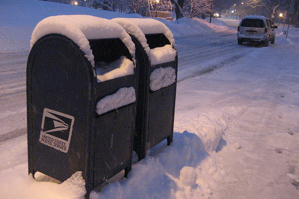 covered snowfall blue mail public postbox