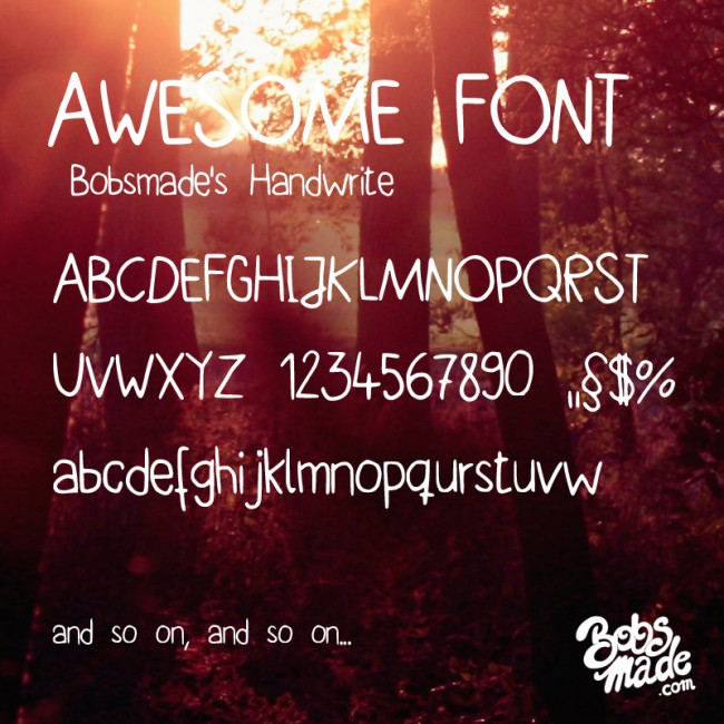 bobsmade handwrite font by bobsmade d5tr0b6 e1363864258783 Free Handwritten Fonts