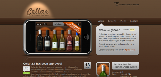 cellar e1270292895657 Attractive Websites for iPhone Applications