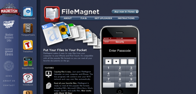filemagnet e1270293163711 Attractive Websites for iPhone Applications