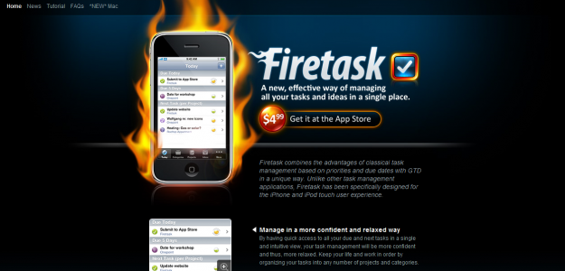 firetask e1270291466719 Attractive Websites for iPhone Applications