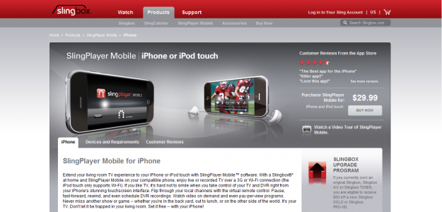 slingbox e1270290633675 Attractive Websites for iPhone Applications