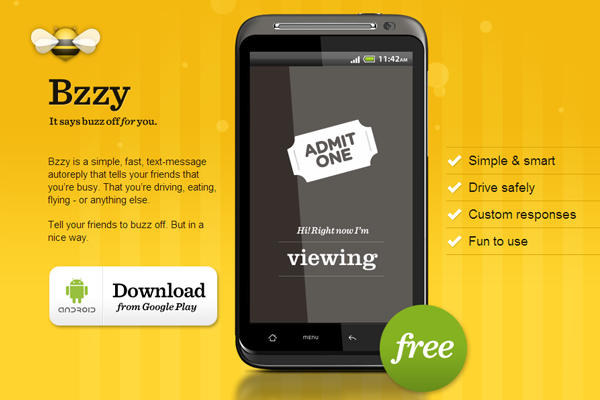 busy bzzy app website landing page yellow bees