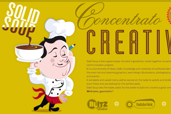 solid soup yellow illustration website layout