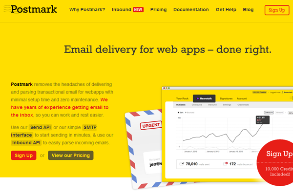 mark app postmark landing webpage yellow design