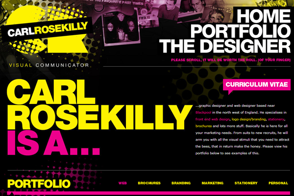 rosekilly portfolio layout yellow design graphics