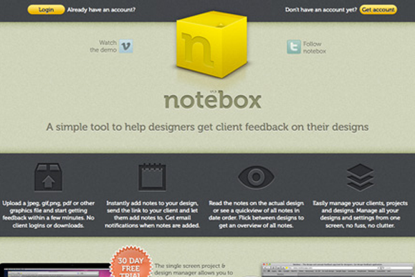 noteboxapp website yellow icon apps landing page