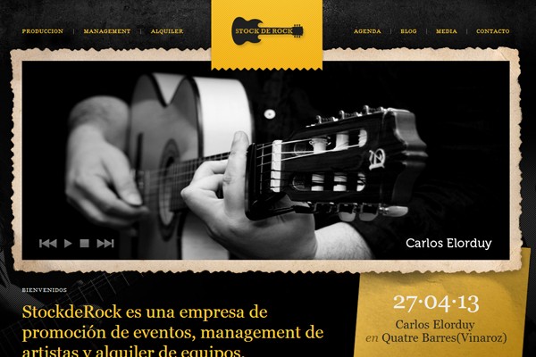 yellow stock de rock website interface inspiration