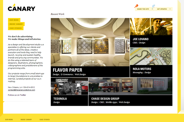 canary collective yellow orange website layouts design