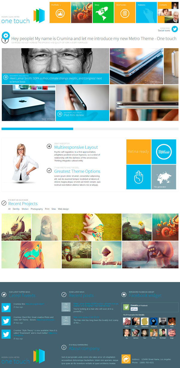 One Touch WordPress Themes 10 Free and Premium WordPress Themes Inspired By Windows 8 Metro UI