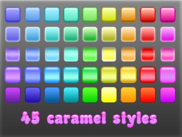 45 caramel styles by Hvostoroga Splendid collection of Layer Styles for Photoshop