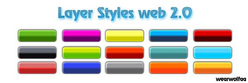 Layer Styles Web 2 0 by Wearwolfaa Splendid collection of Layer Styles for Photoshop