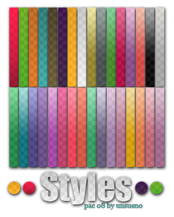 Style  s Pac 8   By unsueno by unsueno Splendid collection of Layer Styles for Photoshop