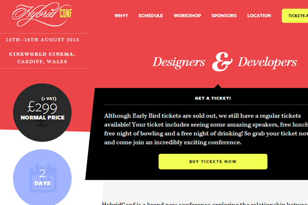 hybridconf conference website red layout