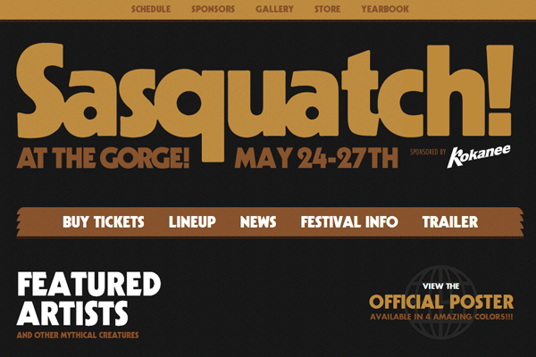 sasquatch festival 2013 dark website layout