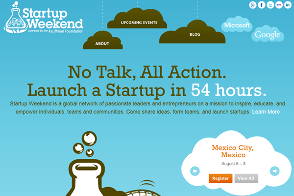 startup weekend blue website layout