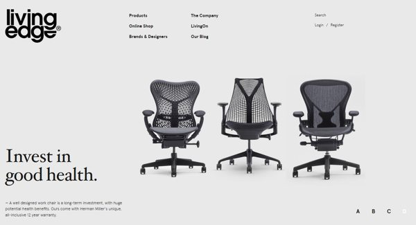 chairs store website design