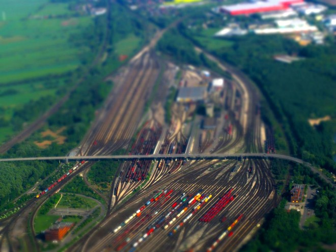 tilt shift photography train
