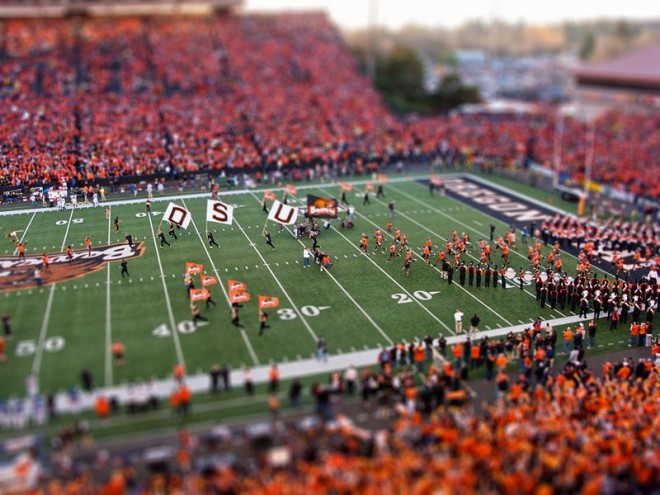 beautiful tilt shift photography stadium