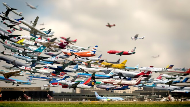 tilt shift photography airport