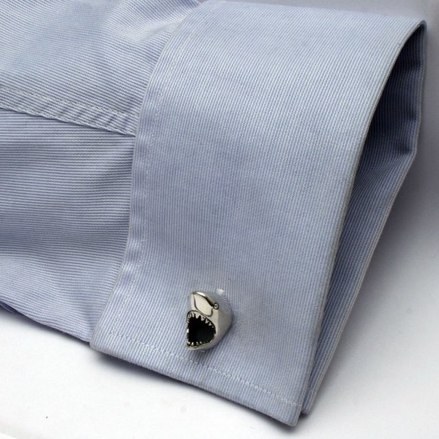 Creative product designs #37- Sterling Silver Great White Shark Cufflinks