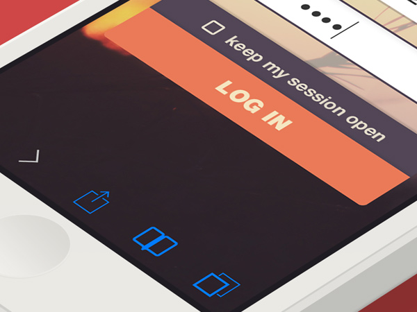 iphone ios7 app user interface login form button