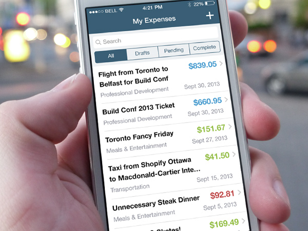expensely iphone ui app design preview