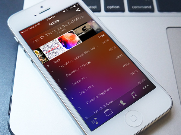 mixr iphone app ui music albums preview