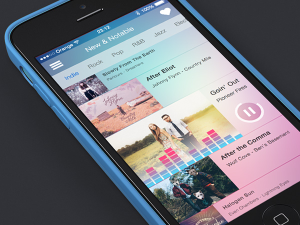 songbyte mobile app iphone music design gui ui preview