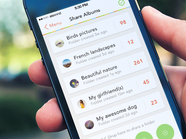 iphone app ui share albums social network preview