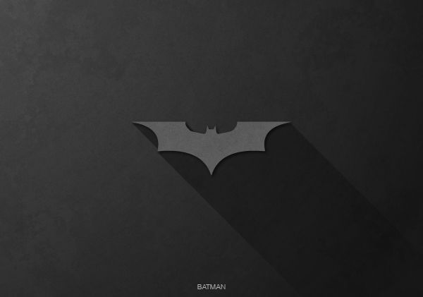 Superheroes logos with long shadow(Batman)