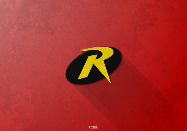 Superheroes logos with long shadow(Robin)