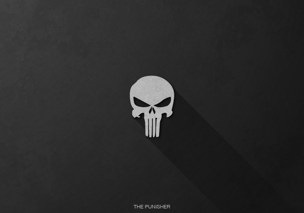 Superheroes logos with long shadow(The Punisher)