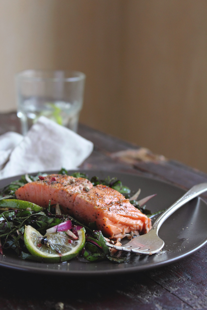 Food photography by Anna Kurzaeva - Roasted Trout with Chard Salad