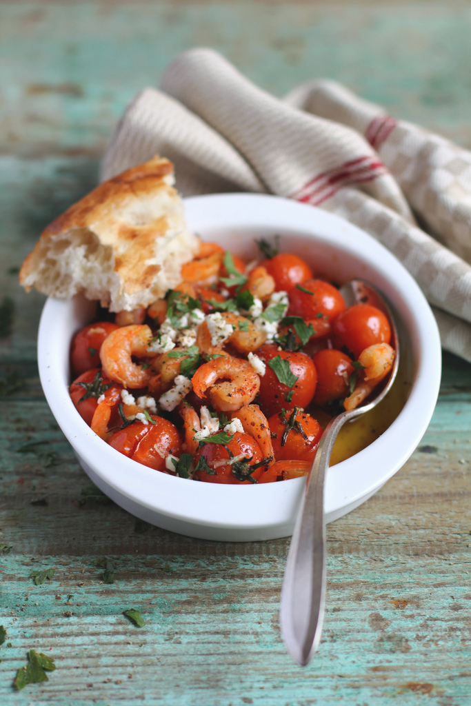 Food photography by Anna Kurzaeva - Roasted Tomatoes With Shrimps and Feta