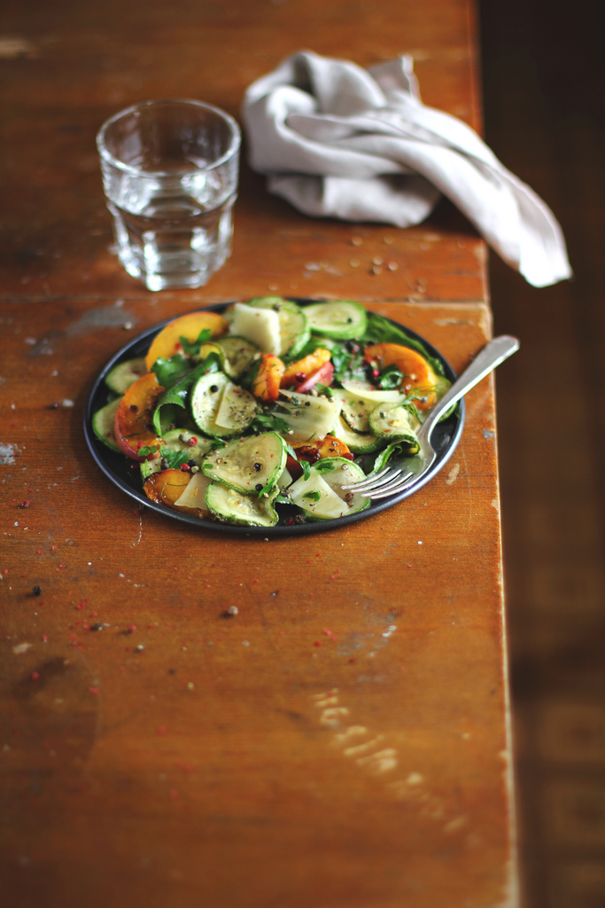 Food photography by Anna Kurzaeva - Courgette&Peach Salad with Parmesan Cheese