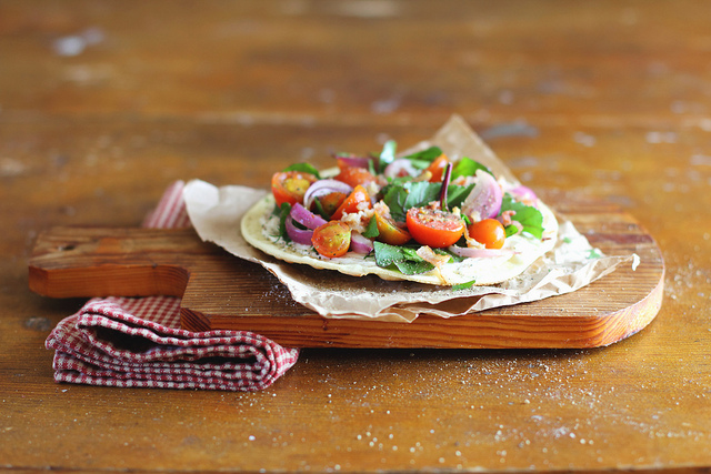 Food photography by Anna Kurzaeva - Flatbread with Tomatoes, Bacon and Chard
