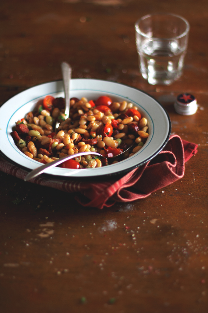 Food photography by Anna Kurzaeva - Beans with Sausages, Tomatoes and Sweet Pepper
