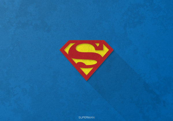 Superheroes logos with long shadow(Superman)